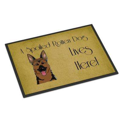 18 in. x 27 in. Indoor/Outdoor German Shepherd Spoiled Dog Lives Here Door Mat
