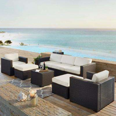 Biscayne 7-Person Wicker Outdoor Seating Set with White Cushions