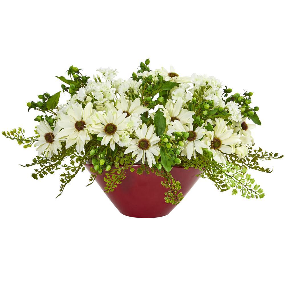 Indoor Daisy Artificial Arrangement in Red Vase