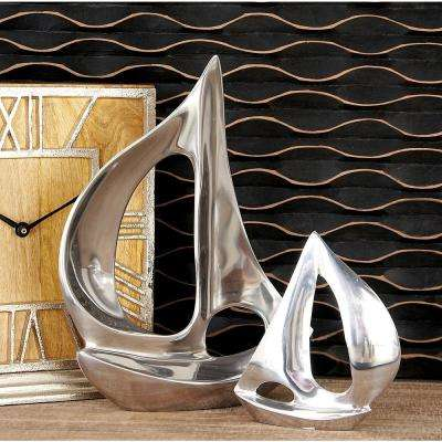 Sailboat Decorative Sculpture in Polished Silver (Set of 3)