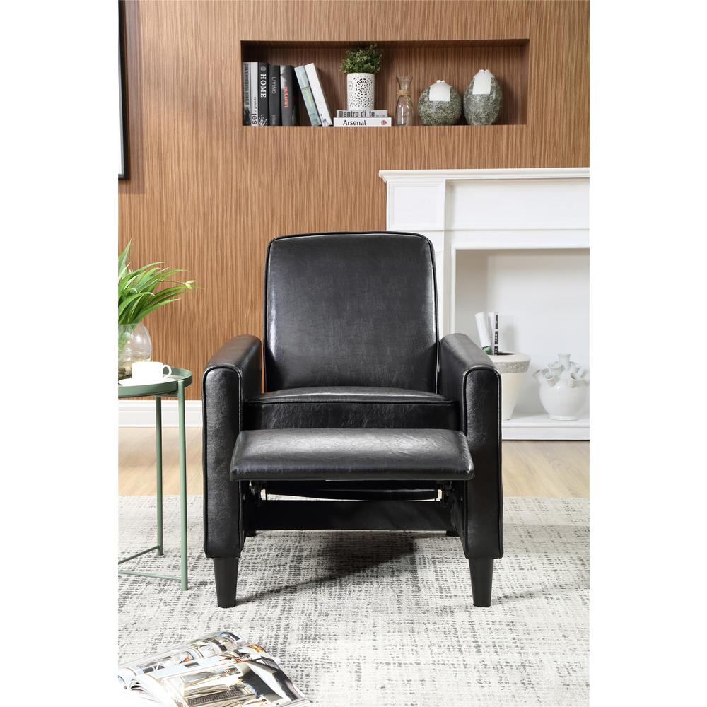 Fabulous Black Faux Leather Push Back Recliner 73028 89Bk The Home Alphanode Cool Chair Designs And Ideas Alphanodeonline