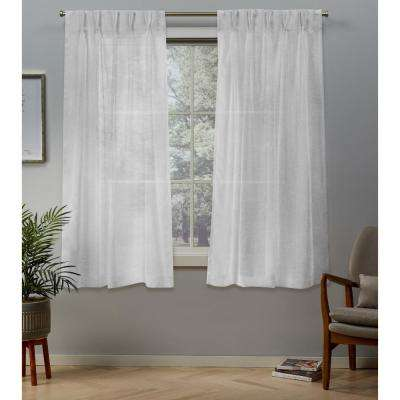 Belgian 30 in. W x 63 in. L Sheer Pinch Pleat Top Curtain Panel in Winter White (2 Panels)