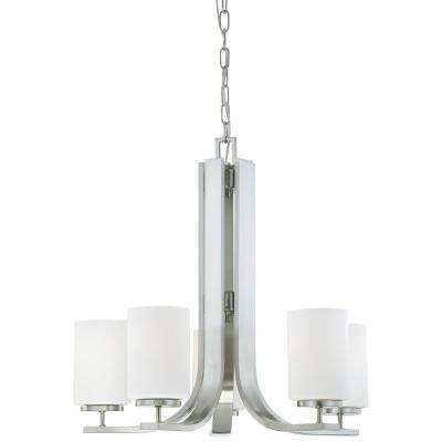 Pendenza 5-Light Brushed Nickel Hanging Chandelier