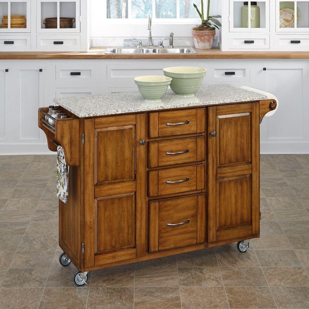 Warm Oak Kitchen Cart With Salt & Pepper Granite Top, Cre...