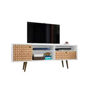 Liberty 70.86 in. White and 3D Brown Print 4-Shelf TV Stand