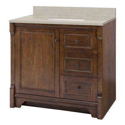 Creedmoor 37 in. W x 22 in. D Vanity in Walnut with Engineered Quartz Vanity Top in Stoneybrook with White Sink