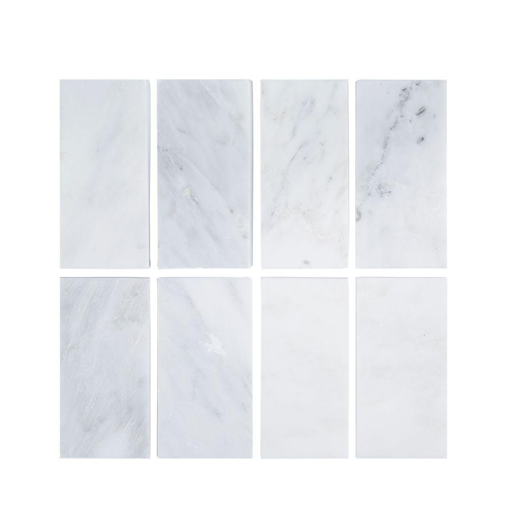 Jeffrey Court Carrara 3 in. x 6 in. x 8 mm Honed Marble Wall Tile (8-Pack)