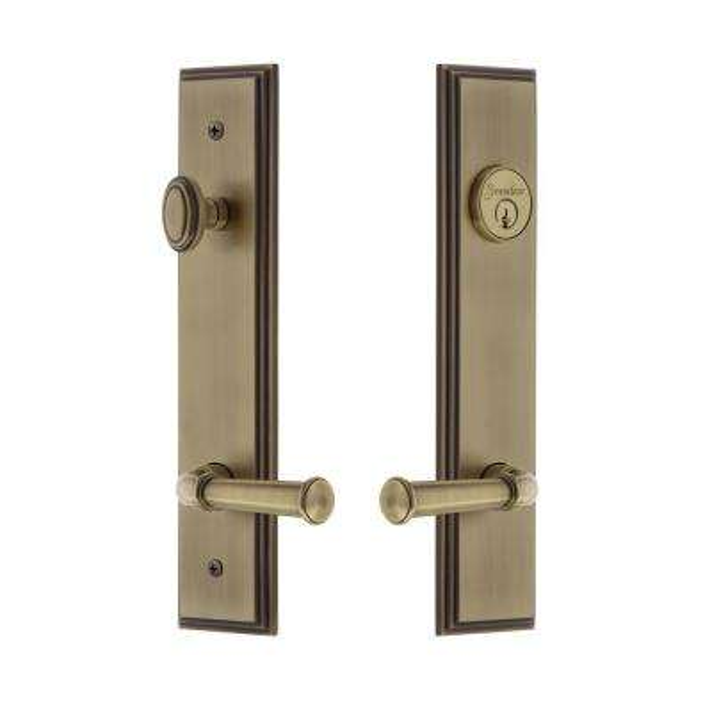 Carre' Tall Plate 2-3/4 in. Backset Vintage Brass Door Handleset with Georgetown Door Lever