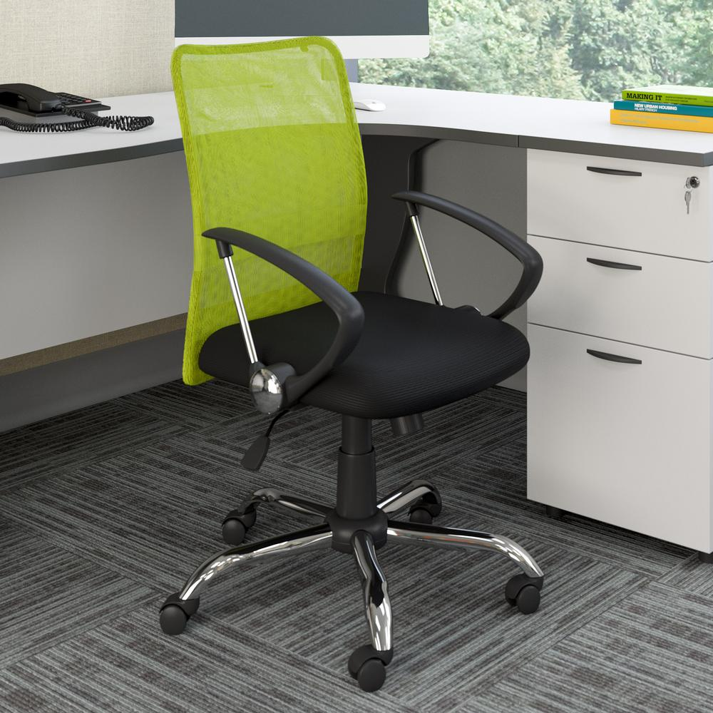 Worke Office Chair With Contoured Lime Green Mesh Back