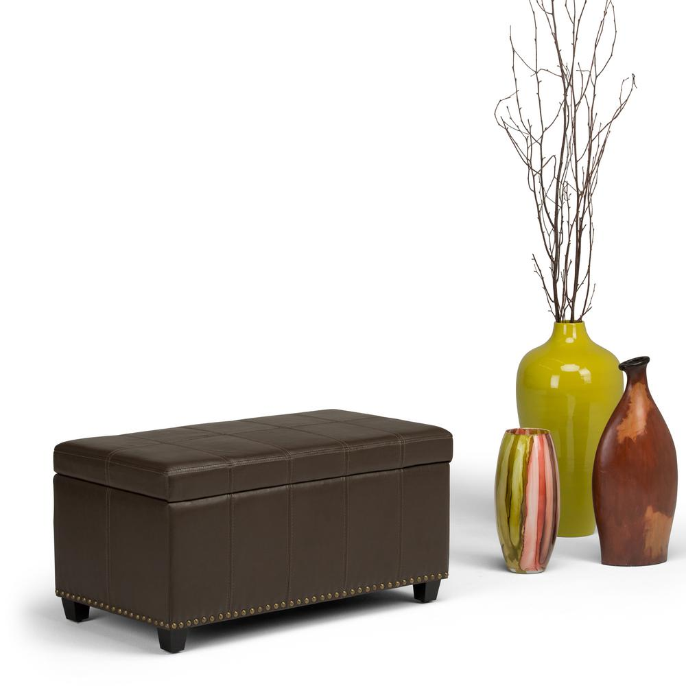 Amelia Chocolate Brown PU Faux Leather Storage Ottoman