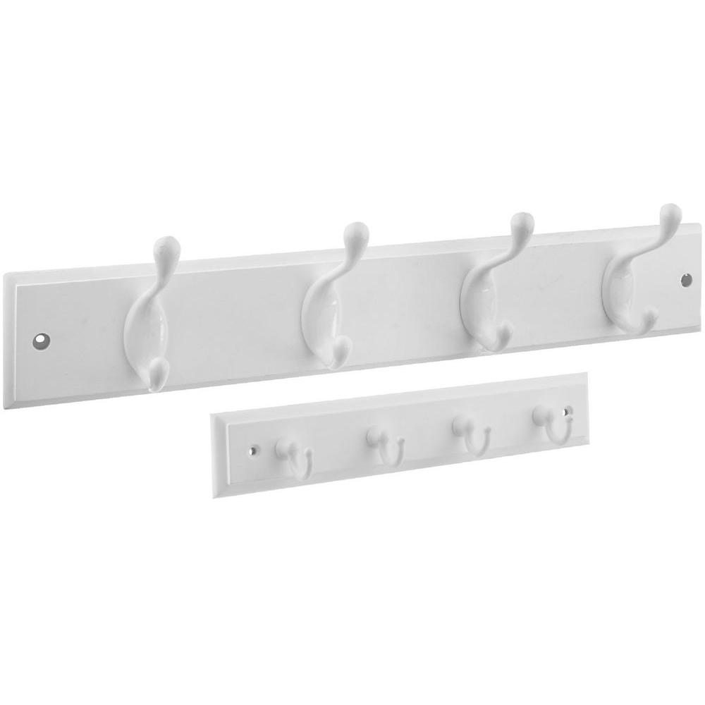 18 in. Key Tidy Hook Rail Combo in White