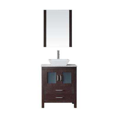 Dior 29 in. W Bath Vanity in Espresso with Marble Vanity Top in White with Square Basin and Mirror and Faucet