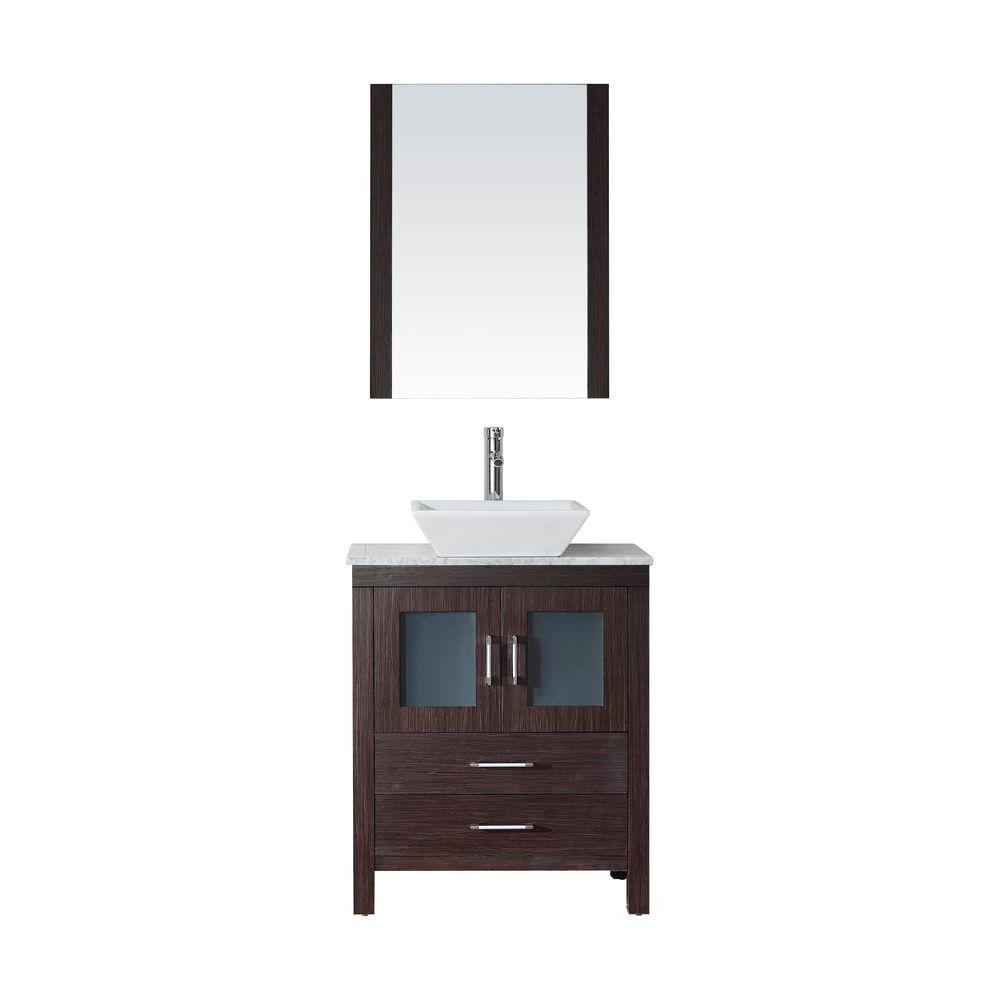 Virtu USA Dior 28 in. W x 18.3 in. D Vanity in Espresso with Marble Vanity Top in White with White Basin and Mirror