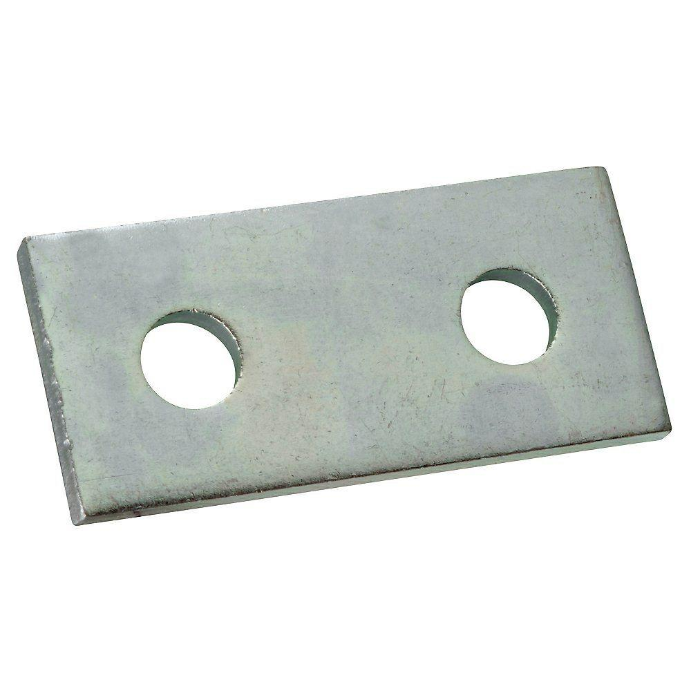 Superstrut 3-1/2 in. 2-Hole Flat Straight Bracket, Silver Galvanized