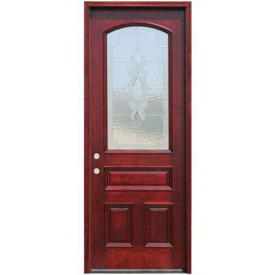 Traditional 3/4 Arch Lt Stained Mahogany Wood Prehung Front Door w/6in Wall Series and 8 ft. Height Series