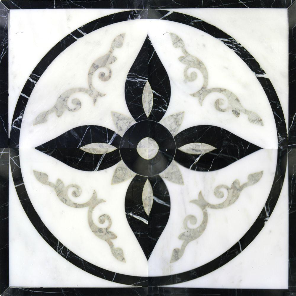 Ms international venetian del sol 24 in x 24 in polished marble ms international venetian del sol 24 in x 24 in polished marble water jet medallion floor and wall tile medw vdsm 2424 the home depot dailygadgetfo Gallery
