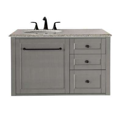 Hamilton 39 in. W Wall Hung Single Vanity in Grey with Granite Vanity Top in Grey with White Sink