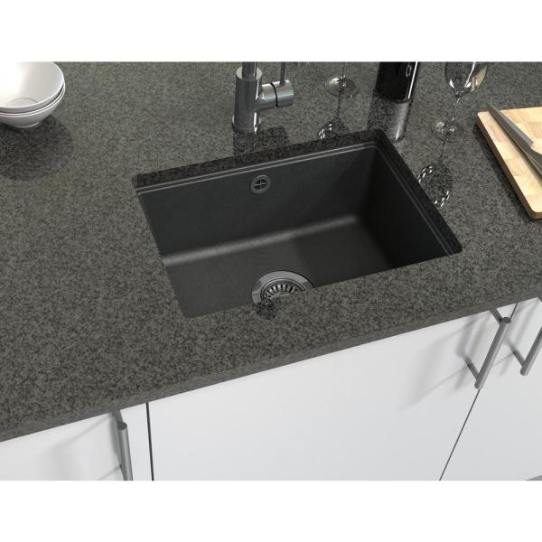 Astracast Dual Mount Granite Composite 20 In 1 Hole Bar Sink In Metallic Black As Aq10rzussk The Home Depot