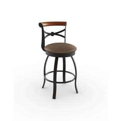 Bourbon 26 in.Textured Dark Brown Metal Medium Brown Polyurethane Dark Cherry Wood Counter Stool
