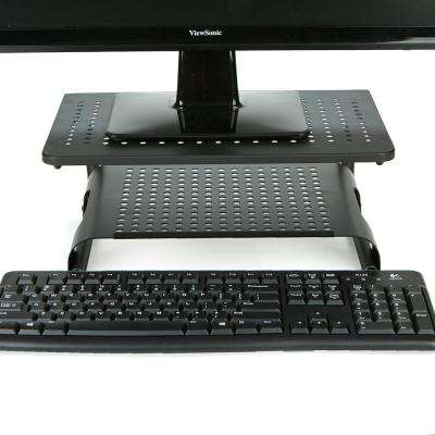 Monitor Stand Riser 2-Tier Ventilated Metal for Computer Monitor, Laptop, Storage for Keyboard, Black
