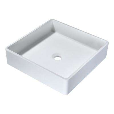 Matimbi 1-Piece Solid Surface Vessel Sink with Pop Up drain in Matte White