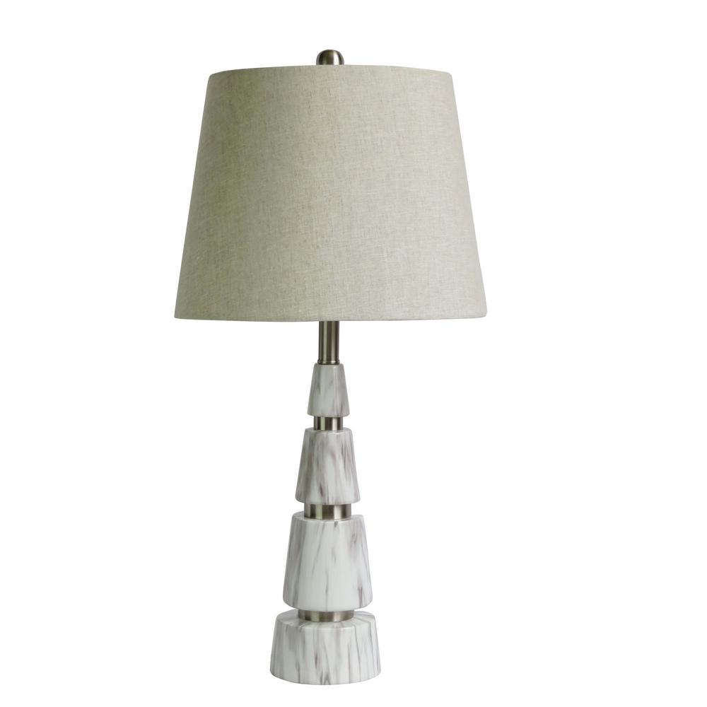 Fangio Lighting 26 In Pyramid Polished Nickel And Faux White Marble