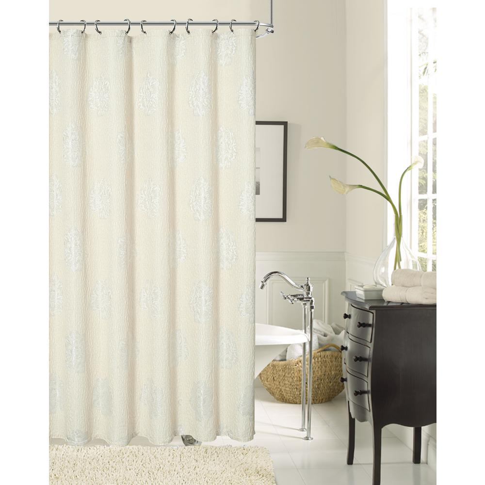 Dainty Home Rose 70 In Natural Shower Curtain RODASCNA
