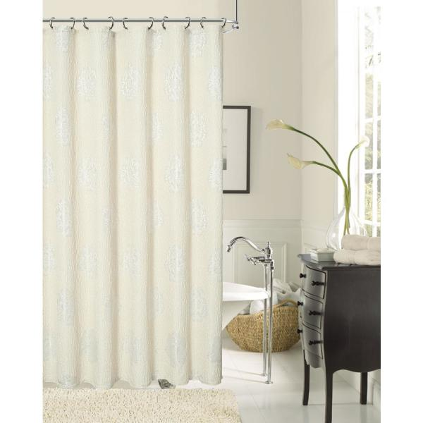 Dainty Home Rose 70 in. Natural Shower Curtain