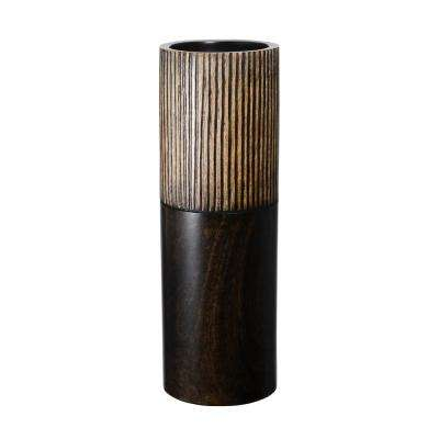 15 in. Black Decorative Handmade Cylinder Mango Wood Vase