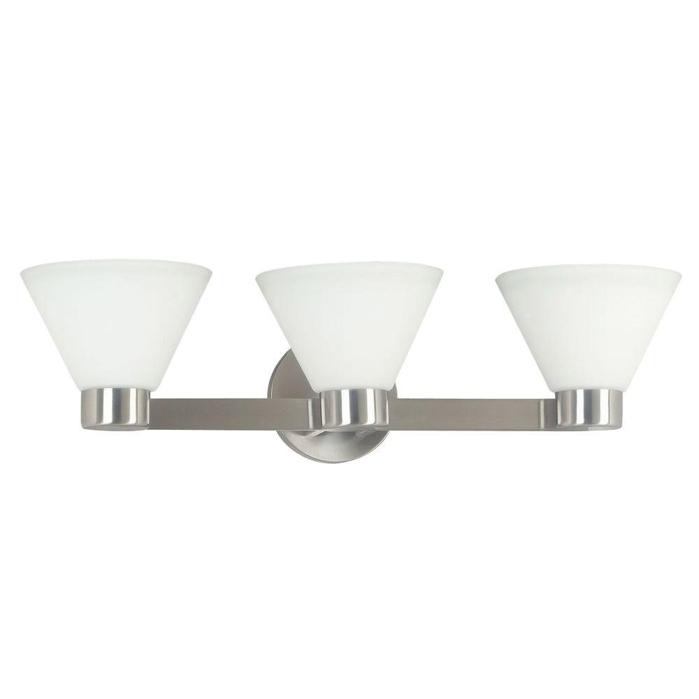 Kenroy Bathroom Vanity Light: Kenroy Home Maxwell 3-Light Brushed Steel Vanity Light