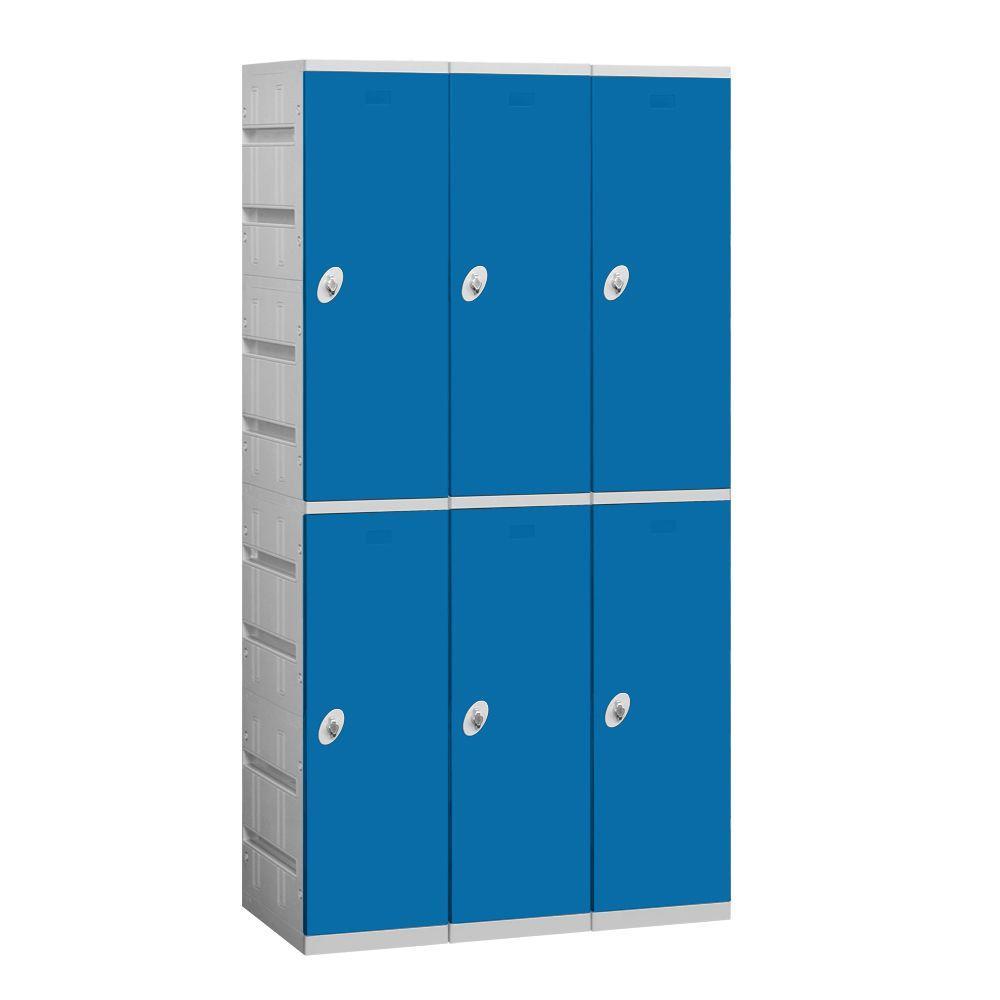 Salsbury Industries 92000 Series 38.25 in. W x 74 in. H x 18 in. D 2-Tier Plastic Lockers Assembled in Blue