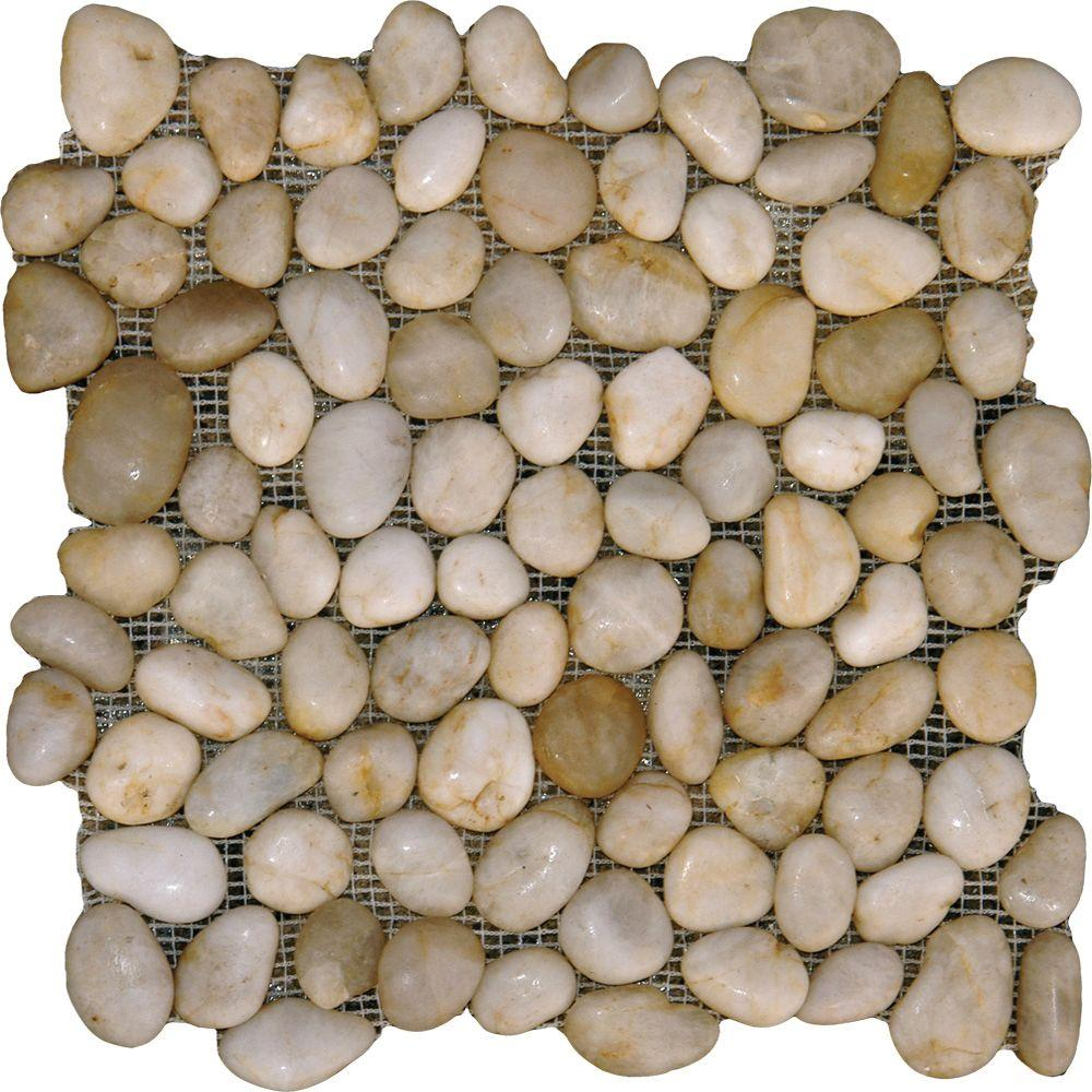 MSI White River Rock 12 in. x 12 in. x 10 mm Marble Mesh-Mounted Mosaic Tile