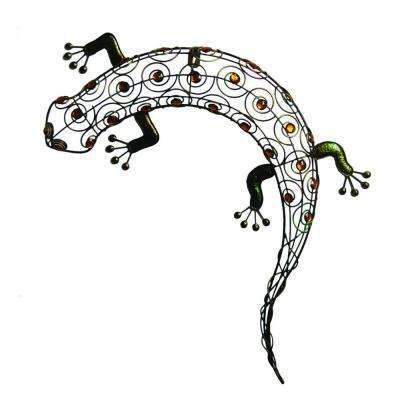 11 in. W x 18-1/2 in. H x 2 in. D. Multi-Colored Metal Gecko Wall Art