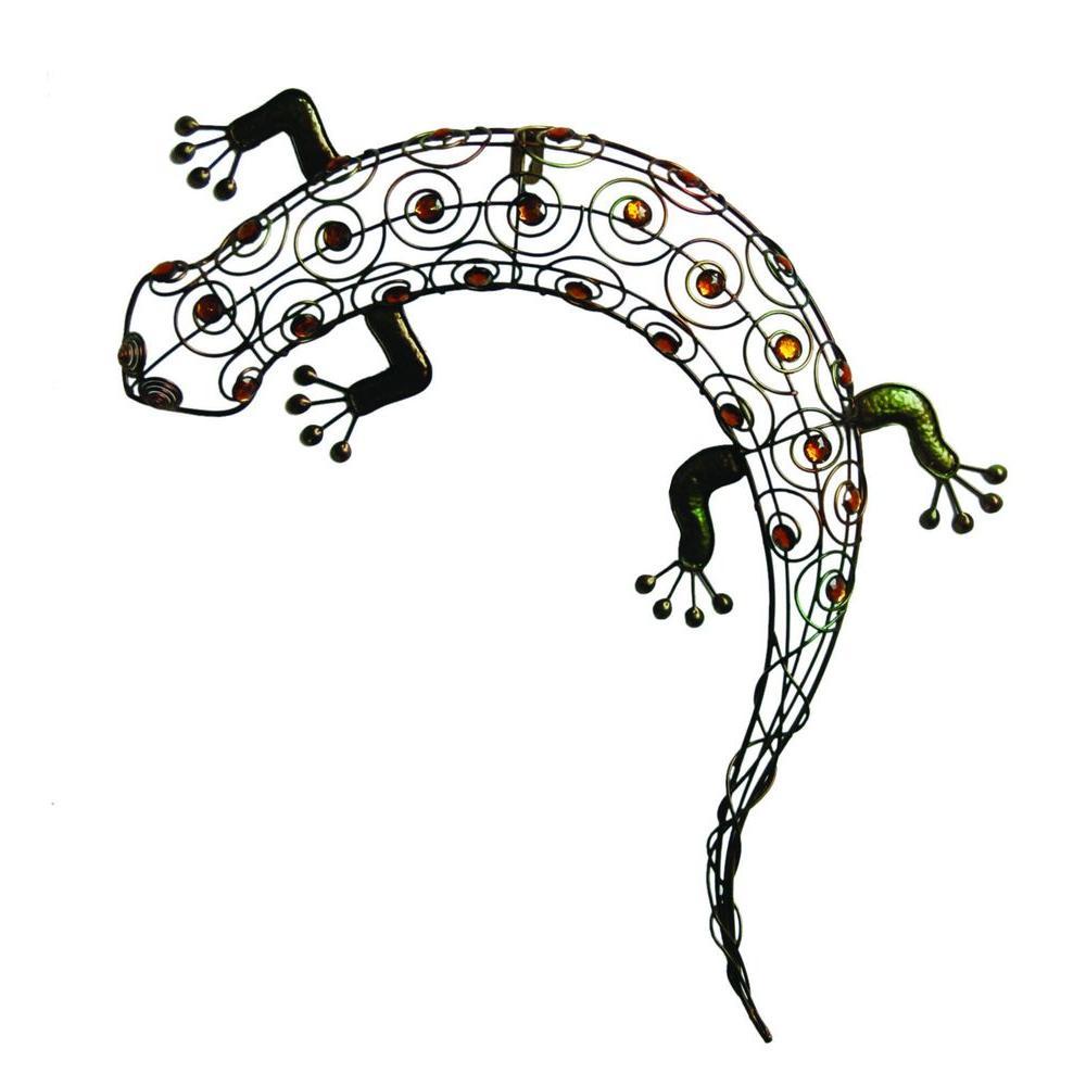 11 in. W x 18-1/2 in. H x 2 in. D. Multi-Colored Metal Gecko Wall Art