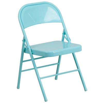 Hercules ColorBurst Series Tantalizing Teal Triple Braced and Double Hinged Metal Folding Chair