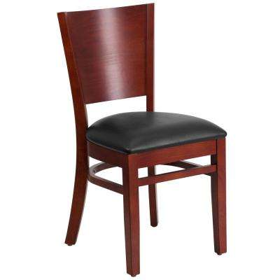 Lacey Series Mahogany Solid Back Wooden Restaurant Chair with Black Vinyl Seat