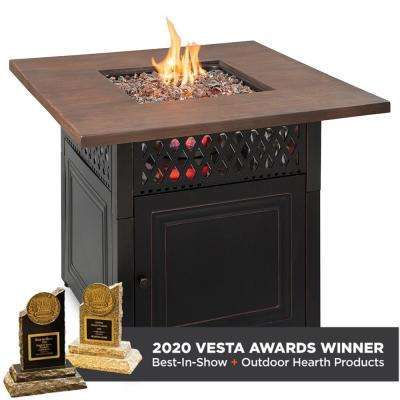 The DualHeat 37.8 in. x 30.7 in. Square Steel and Concrete Resin LP Gas Fire Pit with Hand Painted Wood Grain Mantel