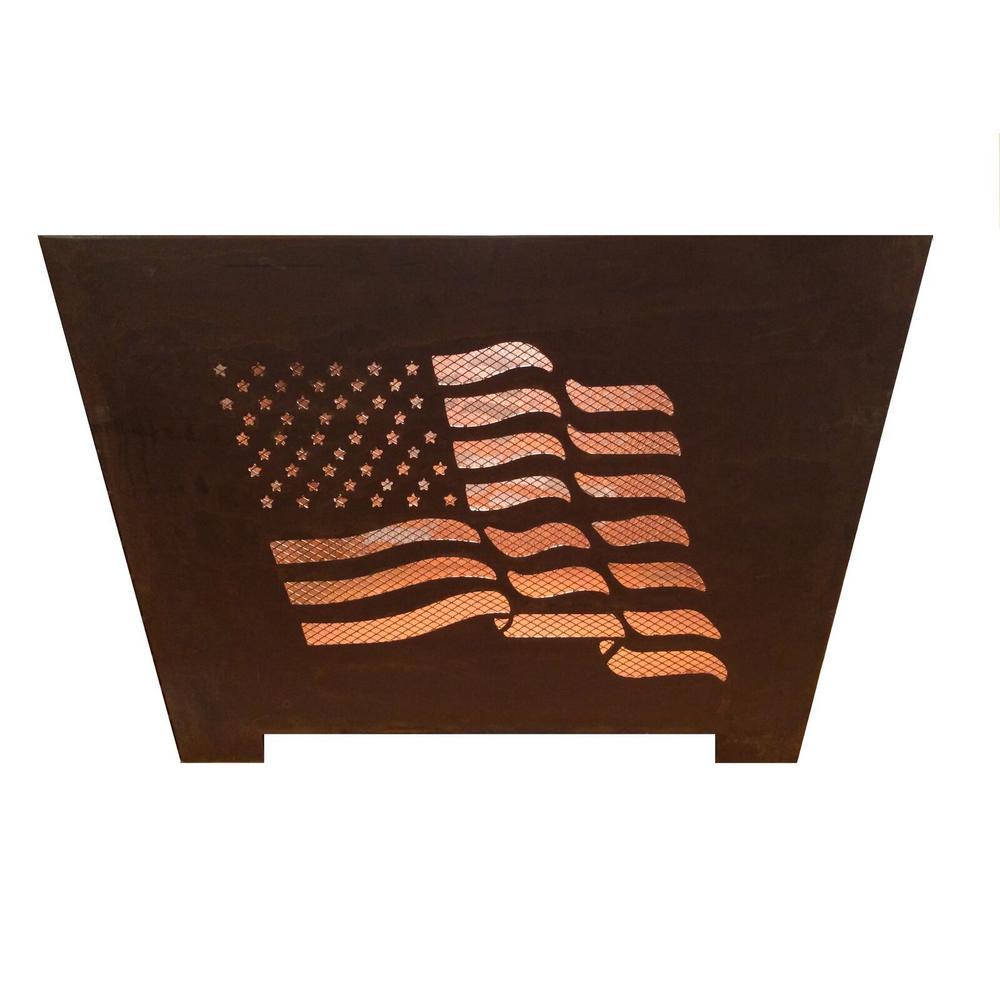 Esschert Design Flag 24 in. x 16 in. Square Steel Wood Burning Fire Pit in Rust
