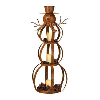 33.25 in. H Metal Snowman Candle Holder