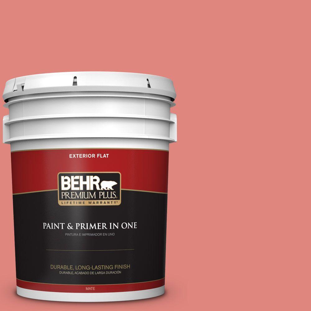 BEHR Premium Plus 5-gal. #170D-5 Mellow Coral Flat Exterior Paint