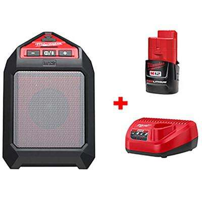 M12 12-Volt Lithium-Ion Cordless Bluetooth Wireless Jobsite Speaker Kit W/ (1) 1.5Ah Battery, Charger
