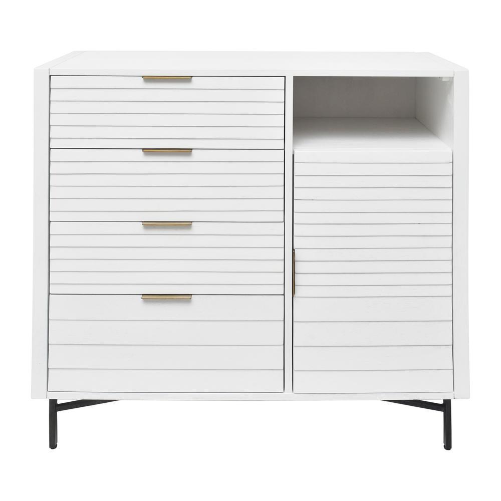 Portland 4-Drawer White Door Chest