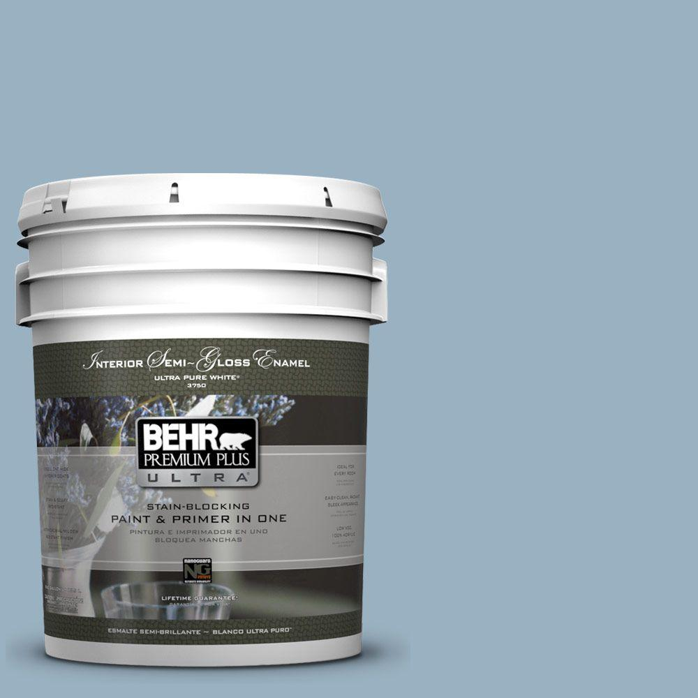 BEHR Premium Plus Ultra 5 gal. #ECC-32-1 Cloudless Day Semi-Gloss Enamel Interior Paint and Primer in One