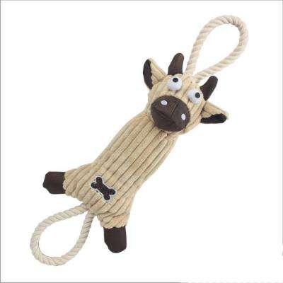 Jute and Rope Plush Cow Dog Toy in Brown