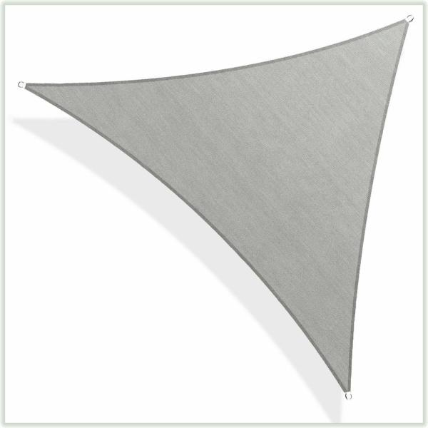 12 ft. x 12 ft. 190 GSM Grey Equilateral Triangle Sun Shade Sail Screen Canopy, Outdoor Patio and Pergola Cover