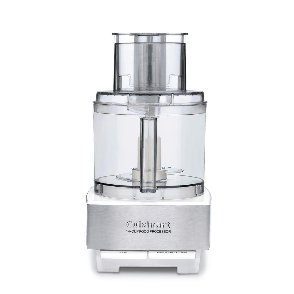 Custom 14-Cup Food Processor in Brushed Stainless Steel and white, Brushed Stainless And White This large capacity food processor speeds up all cooking from quick, weeknight meals to weekend celebrations. With the large 14-cup work bowl, extra-large feed tube and dishwasher-safe parts, there is more time to share the delicious results with family and friends. It is a beautiful addition to any kitchen. Color: Brushed stainless and white.