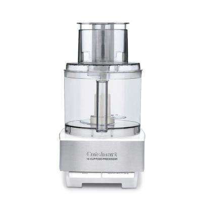 Custom 14-Cup 2-Speed Brushed White Stainless Steel Food Processor with Pulse Control
