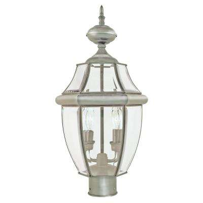 21.5 in. Courtyard 2-Light Outdoor Brushed Nickel Post Light
