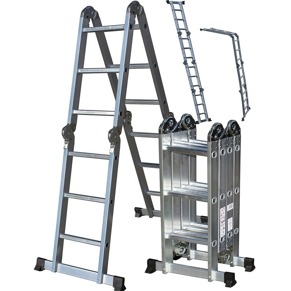 Multi Purpose Aluminum Ladder : Oxgord ft aluminum folding scaffold work ladder with