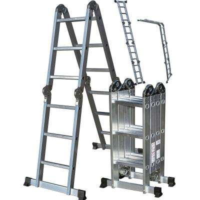 12.5 ft. Aluminum Folding Scaffold Work Ladder with 325 lbs. Max Weight